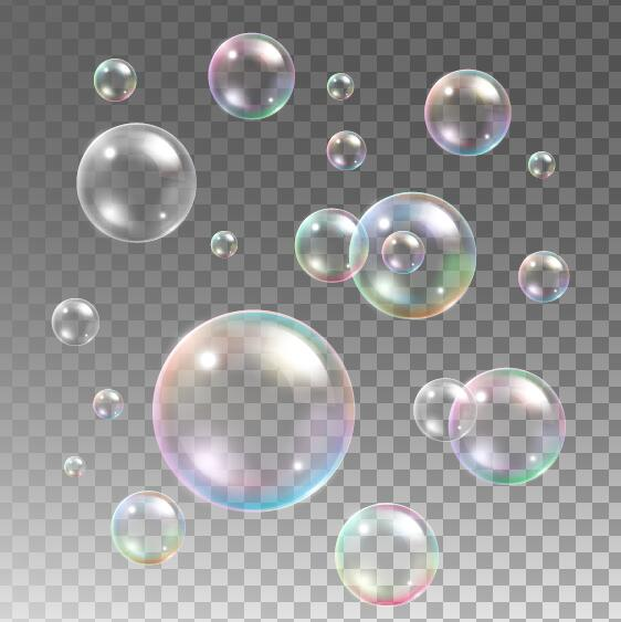 Transparent bubble illustration vector set