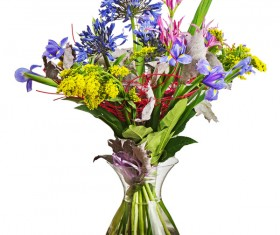Transparent vase with colorful flowers Stock Photo