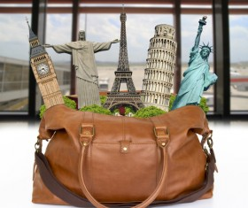 Travel the world monuments bag concept Stock Photo 01