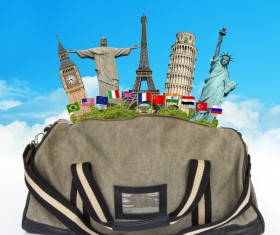 Travel the world monuments bag concept Stock Photo 02