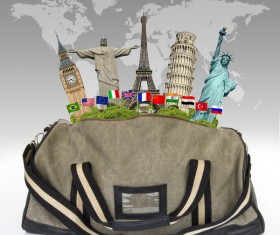 Travel the world monuments bag concept Stock Photo 03