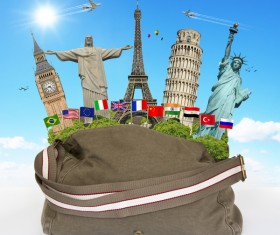 Travel the world monuments bag concept Stock Photo 04