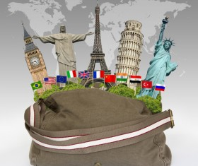 Travel the world monuments bag concept Stock Photo 05