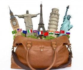 Travel the world monuments bag concept Stock Photo 06