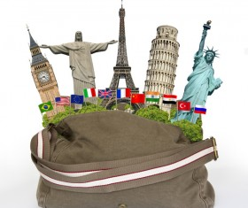 Travel the world monuments bag concept Stock Photo 08