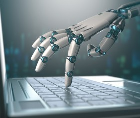 Use your computer's Robot hand Stock Photo 01