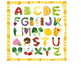 Vagetables with fruits alphabets vectors material