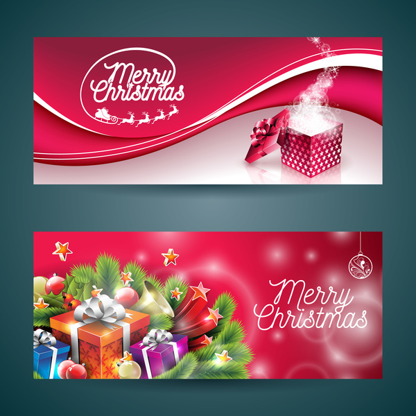 Vector graphic christmas banners design 01 - Vector Banner, Vector ...