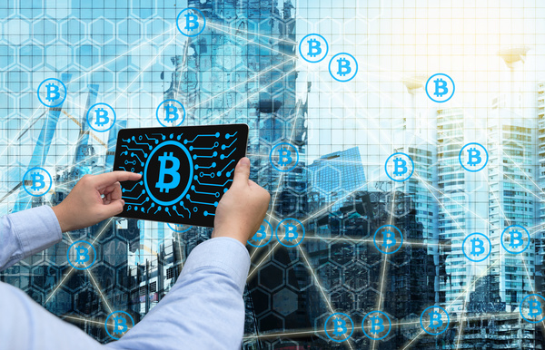 View virtual currency trading trends Stock Photo