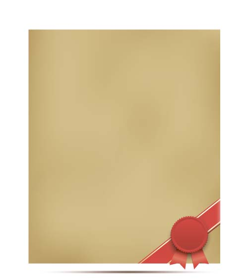 Wax seal with old paper vector background 02
