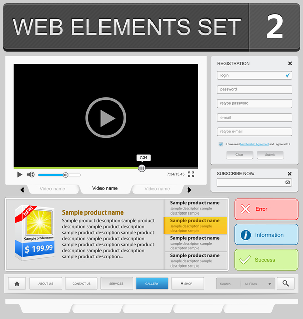Web elements with button vector material set 01