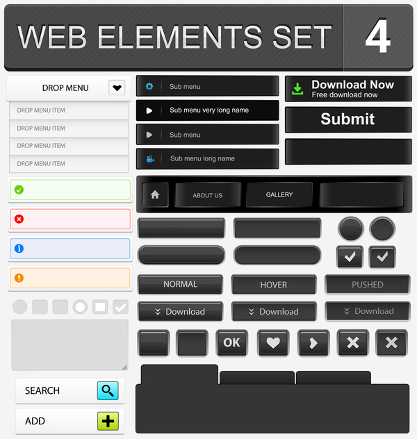 Web elements with button vector material set 03