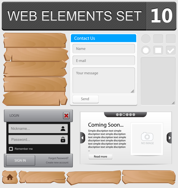 Web elements with button vector material set 04
