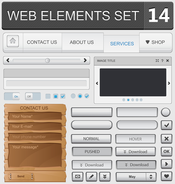 Web elements with button vector material set 07