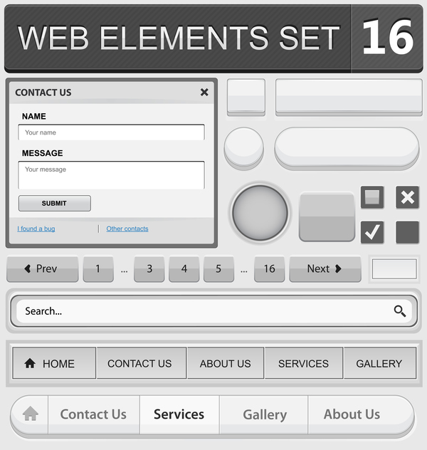 Web elements with button vector material set 09
