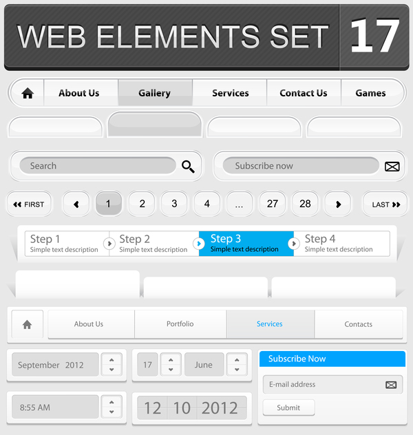 Web elements with button vector material set 10