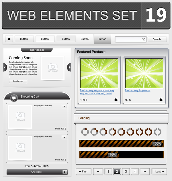 Web elements with button vector material set 12