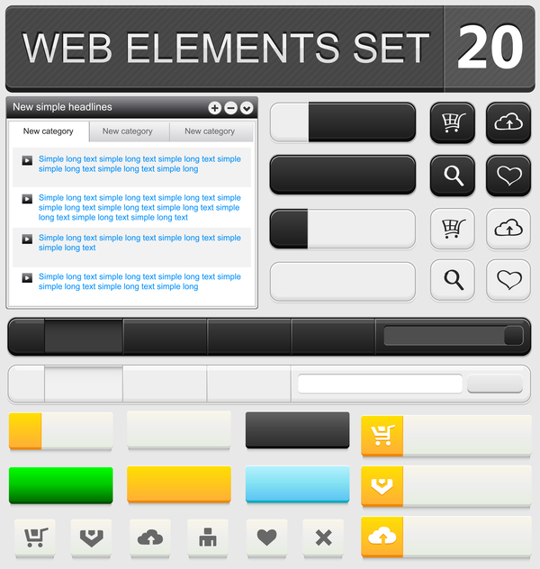 Web elements with button vector material set 13