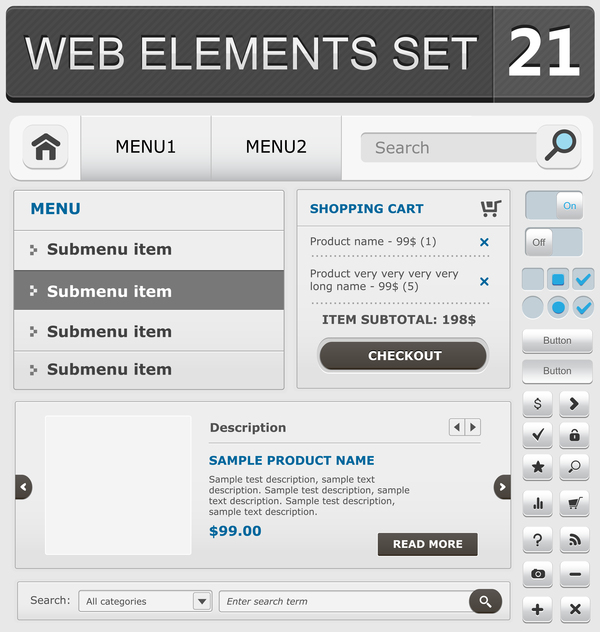 Web elements with button vector material set 14