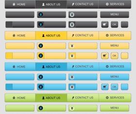 Web menu elements with button set vector