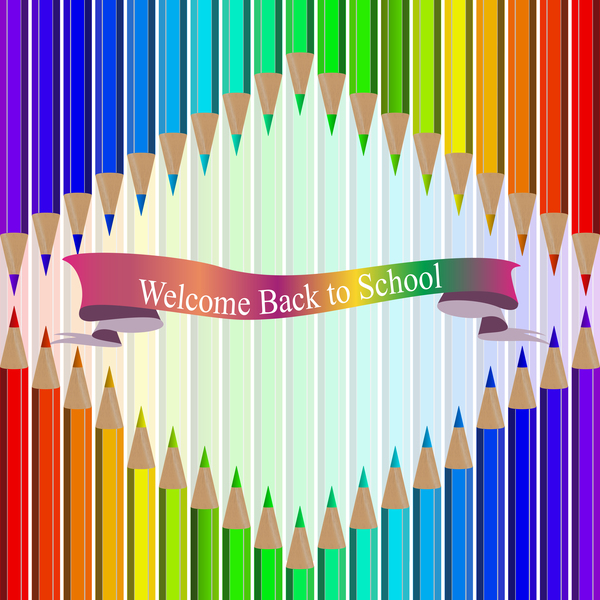 Welcome back to school backgrouns with colored pencils vector 07