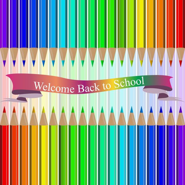 Welcome back to school backgrouns with colored pencils vector 09