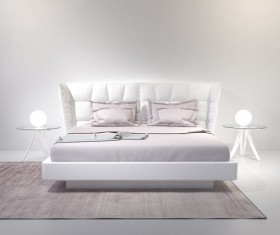 White bed with bedside lamp HD picture