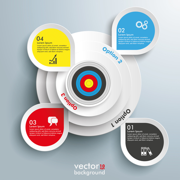 White circles options infographic with target vector