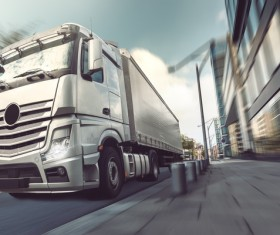 White delivery truck HD picture