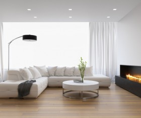 White living room with fireplace Stock Photo