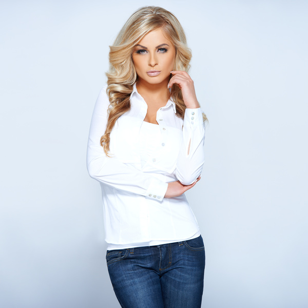 White shirt with jeans fashion women HD picture free download