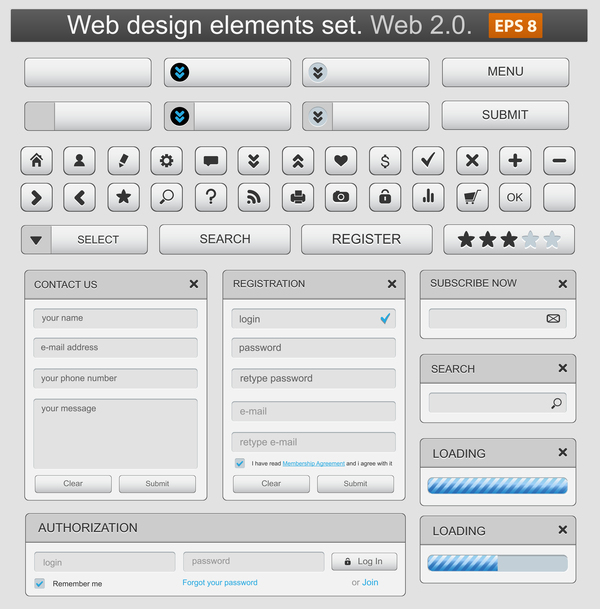 White web menu elements with button vector 01
