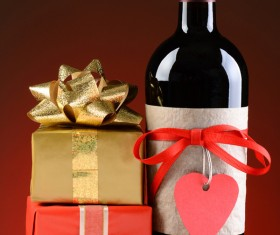 Wine Bottle and Valentines Presents