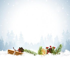 Winter forest with christmas baubles vector material