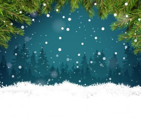 Winter forest with snowflake and needles background