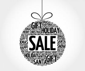 Word cloud christmas ball with sale vector 01