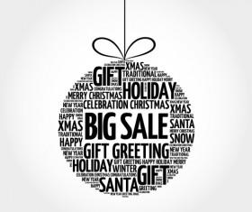 Word cloud christmas ball with sale vector 02