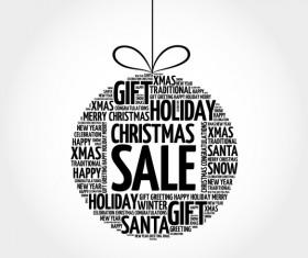 Word cloud christmas ball with sale vector 03