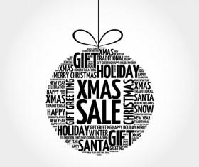 Word cloud christmas ball with sale vector 05