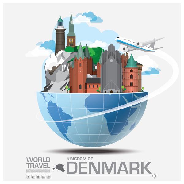 World travel of denmark vector template