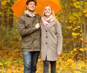 Yellow umbrella Couple walking in the woods HD picture 01