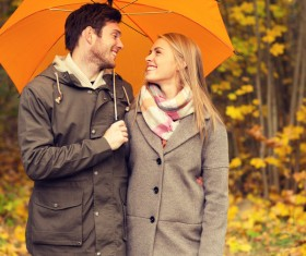 Yellow umbrella Couple walking in the woods HD picture 02