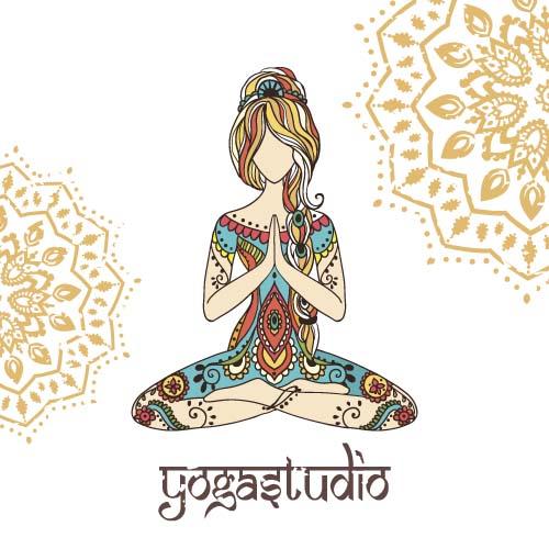 Yoga girl floral vector material 01