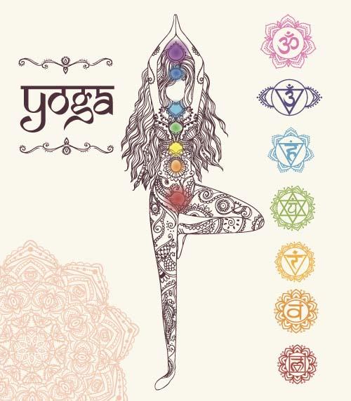 Yoga girl floral vector material 02