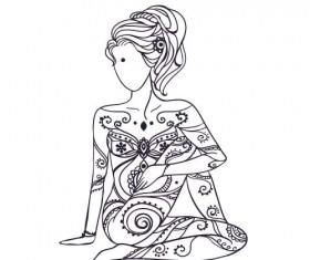 Yoga girl floral vector material 03
