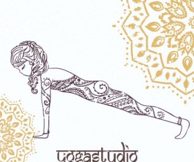 Yoga girl floral vector material 04