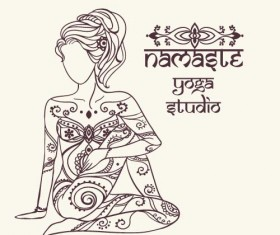 Yoga girl floral vector material 05