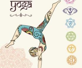 Yoga girl floral vector material 06