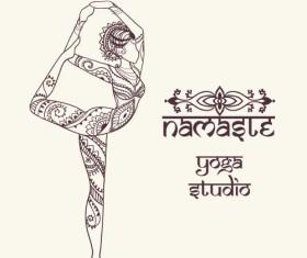 Yoga girl floral vector material 07