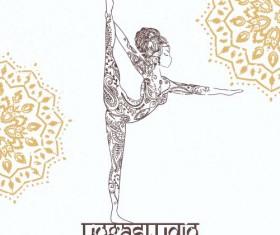 Yoga girl floral vector material 09